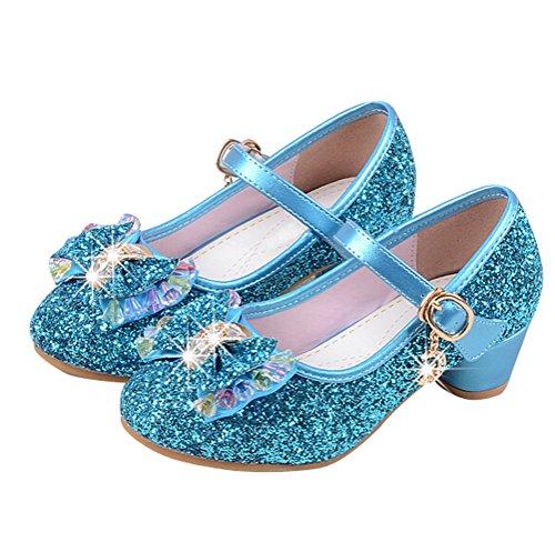 Brinny Printemps et automne Mode Élégante Sandales Pailletté Bowknot Fille Princess Chaussures Escarpin à Petite Talon 4 Couleur: Bleu / Or / Pink / Argenté Bleu