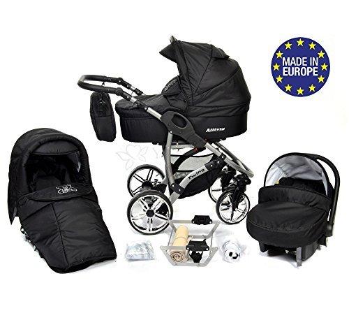 Baby Sportive Allivio - Sistema de viaje 3 en 1, silla de paseo, carrito con capazo y silla de coche, RUEDAS GIRATORIAS y accesorios, color negro
