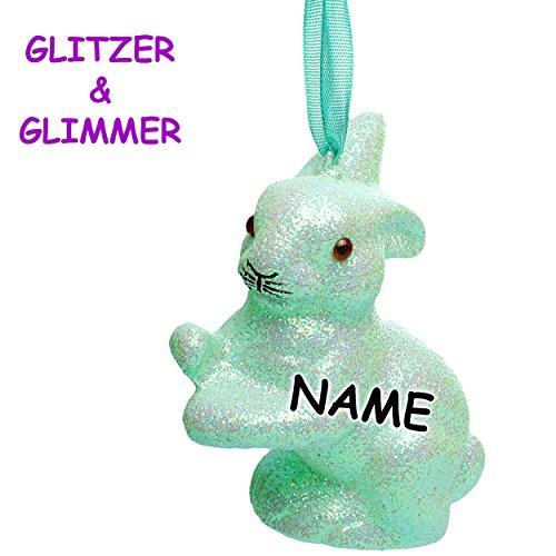5 Stück _ große Deko Hasen / Osterhasen -  Mint / türkis blau - hellblau  - inkl. Name - 11 cm - Innen + Außen - wasserfest & wetterfest - Glitzer & Glimmer.. ()
