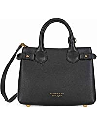 Bolso de Mano Burberry Mujer Piel Negro, Check Burberry y Oro 4023700 Negro 12x20x26 cm