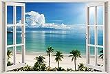 3D-Wandbild Geöffnetes Fenster - großformatig aus hochwertigem Vinyl - wiederverwendbar - 85 x 115 cm - Wandaufkleber - Wandgemälde für Wand - Hochwertige Aufkleber - Wandtattoo Fenster