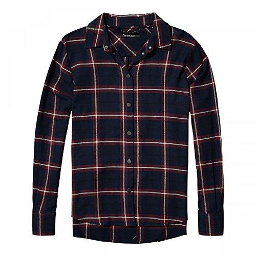 Maison Scotch Damen Langarm Hemd Checked Button Up Shirt 141024 Combo A M (Baumwolle Button-up Bluse)