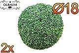 2x Buchs, Echtbaum-Optik, kleine Buchskugel Buxbaum Ø 18 cm 180 mm grün dunkelgrün, fertig montiert, auf Wunsch mit Solarbeleuchtung SOLAR LICHT BELEUCHTUNG (Zubehör) , ohne Terracotta Topf Plastik und stabilem Fuß (Zement) hoch und stabil Kunstpflanze Buxbaum künstlicher Baum künstlich Kunstpflanzen stabile Dekobäumchen künstliche Bäume Bäumchen Kugel Buxbaumkugel + Solarlicht LED Lampe 2 Lampen Lichterbaum Kunstblume im Pflanzkübel