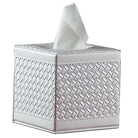 Neuf carré PU Cuir visage Boîte à mouchoirs Housse Rouleau de papier support pour Home Office Voiture White Woven