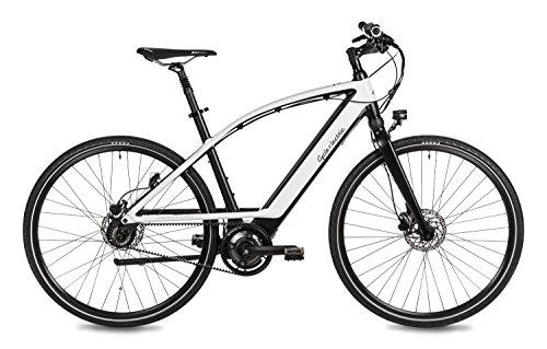 """Cycle Electric Elektrofahrrad, E-Bike \""""MILOS\"""", 36V 250W Mittelmotor, Shimano Nexus 8-Gang Nabenschaltung, Vollfederung, Zahnriemenantrieb, One Size, schwarz/weiß"""