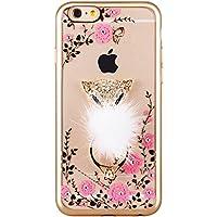 Dugofexing iPhone 6 / 6S Plus Hülle TPU Bumper Case Weiches Transparentes Silikon Schutzhülle für iPhone 6/6S Plus 3D Diamant Bling mit Ring als Unternehmer Fox (Gold)