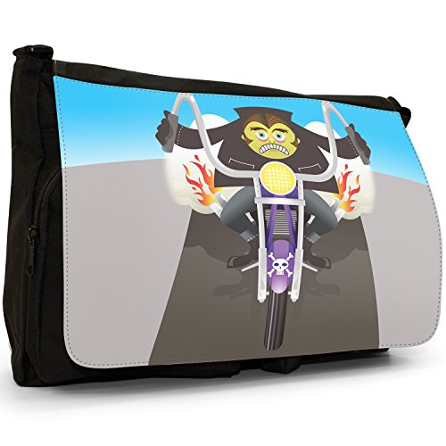 Fancy A Bag Borsa Messenger nero Grim Reaper Face Zombie Monster Riding Motorcycle
