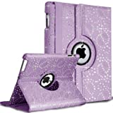 Inconnu 360�Degree Swivel Leather Case for iPad 2�3�& 4, with Glittery Rhinestone, Built-in Stand, Screen Protector and Stylus Touch Pen - viola con strass