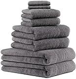 8 tlg Badetuch Saunatuch Handtuch Set DELUXE 100% Baumwolle Farbe anthrazit grau 2 Badetücher 2 Duschtücher 2 Handtücher und 2 Seiftücher