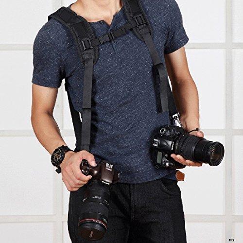 Fone-Stuff Doppel-Schulter-Kamerarasche, Puluz - Dual Soft-Pad-Gurtgurt mit schnellem Schnellspanner für DSLR Digitalkamera Canon Nikon Sony Panasonic