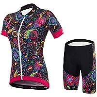 Malciklo Sets de Ropa Ciclismo, Manga Corta con Pantalón Corto para Mujer, Conjunto Ropa de Bicicleta de Spandex Coolmax Lycra (Negro, Pantalón Corto S)