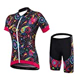 Malciklo Radsport-Kleidung-Sets, Kurze Ärmel Damen Kurze Hosen, Spandex Coolmax Lycra Fahrrad-Kleidung-Set (M)
