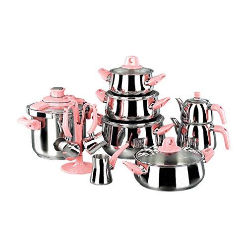 Korkmaz Set de casseroles, Granit, Rose, 1cm cm 18unités de