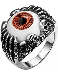 JewelryWe Joyería Anillos Hombre Mujer, Acero Inoxidable Gótico, Evil Eye Ojo del Diablo Calavera, Rojo Anillo Motorista, Talla 25