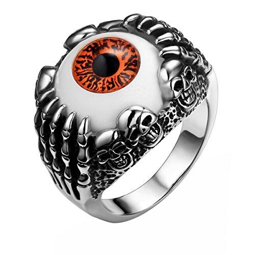 ker Edelstahl Damen Herren Ring, Geist Schädel Totenkopf Augen Band Ring für Halloween Weihnachten, Schwarz Silber Braun-Rot Größe 65 - mit Geschenk Tüte (Geist Halloween Stunden)