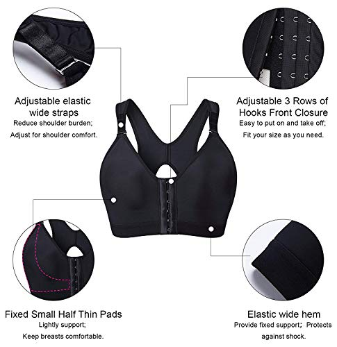 YIANNA Women Post Surgery Front Fastening Sports Bra with Wide Back Support
