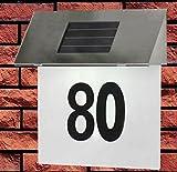 Edelstahl Solar Hausnummer beleuchtet mit 4 integrierten LED´s Ein-/Ausschalter inkl. 3 Zahlenset 0-9 1 Buchstabenset a-f ca. 19x17,7x5cm
