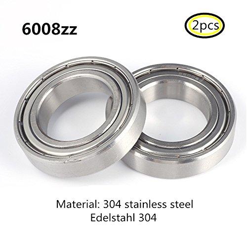 Preisvergleich Produktbild 6008Z S6008 6008ZZ lager 304 Edelstahl Rillenlager Miniaturlagern Motoren 40x68x15mm ball bearing for motor 2-Pcs
