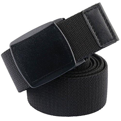 mookaitedecor Unisex Gürtel Elastischer Nylon Belt für Herren und Damen mit Automatisch Schnalle, 02-schwarz(kunststoffschnalle), Einheitsgröße (Herren Gürtel Schnallen)
