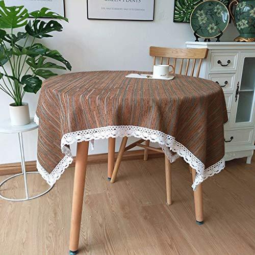 LSJT Europäische Kleine Runde Tischdecke Stoff Runde Tischdecke Runde Tischdecke braun Chenille...