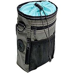 Vicstar Futterbeutel für Hunde - Leckerlitasche Snack Bag mit Clip & Lasche - Futtertasche für Hundetraining und Ausbildung - Wasserfest und Abwaschbar - 3 Methoden zu Tragen - 12 * 6 * 20cm