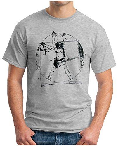 k - T-Shirt Leonardo Music Hardrock Heavy Metal Guitar Gitarre Bass Punk Pop Parody, XL, Grau Meliert ()