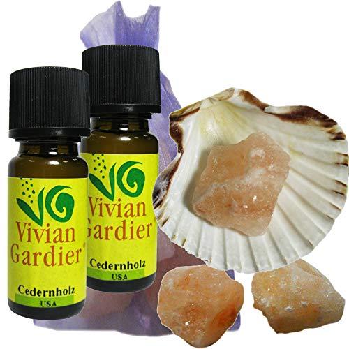 Ceder/Zedernholz Öl 2 x 10ml ätherisch + NATURREIN von VIVIAN GARDIER, kontrollierter Anbau #50019 | 7-teilig. Aromatherapie Duft-Set, Muschel, 3 x Sole-Kristalle zum Beduften, Duftsäckchen. -