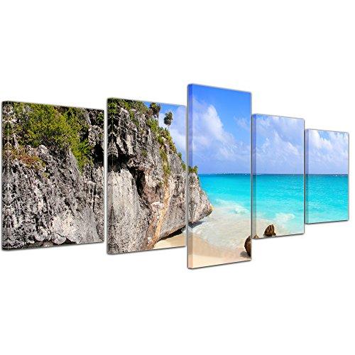 Kunstdruck - Tulum Mexiko - Karibik - Bild auf Leinwand - 200x80 cm 5 teilig - Leinwandbilder - Bilder als Leinwanddruck - Wandbild von Bilderdepot24 Einfach Südlichen Baumwolle