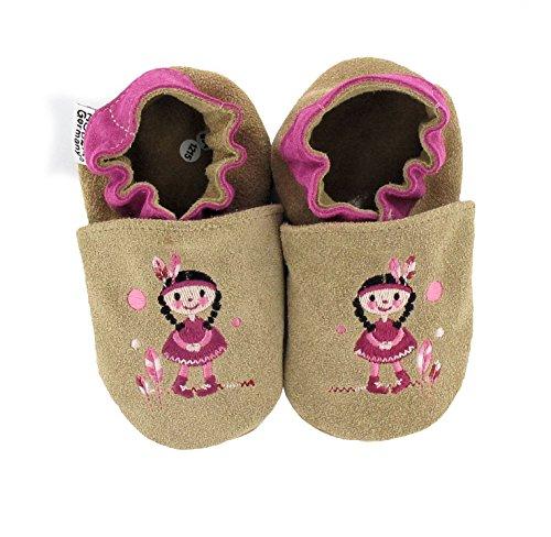 HOBEA-Germany bestickte Krabbelschuhe in verschiedenen Designs, Größe Schuhe:18/19 (6-12 Mon), bestickte Motive:Indianermädchen -
