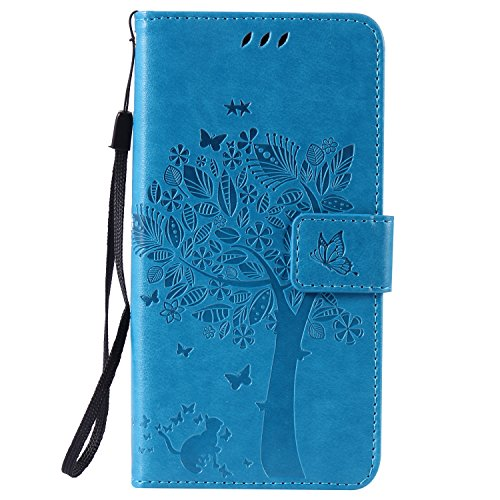 LG K8 Case Leather, Ecoway Cat and tree Patterned Embossing PU Leather Stand Function Protective Cases Covers with Card Slot Holder Wallet Book Design Detachable Hand Strap for LG K8 – blue