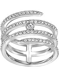 Swarovski Damen-Ring Creativity coiled rhodiniert Kristall transparent - 522141