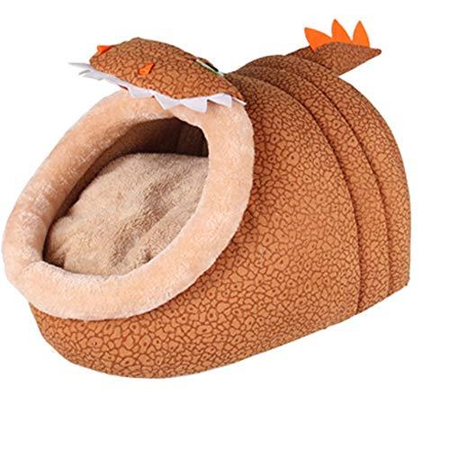 Ledu Das Katzen Bett, Warmes, Niedliches Braunes Katzen Bett Dinosaurier Geformtes Haustier Bett,L (Katze Braune Bett)