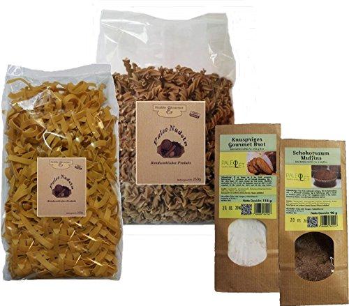 PALEO Kennenlernpaket GLUTENFREI - 2x Nudeln (1x Sonnenblumenmehl und 1x Sesammehl) und 2x Mehlmischung (1x Muffins 1x Brot)