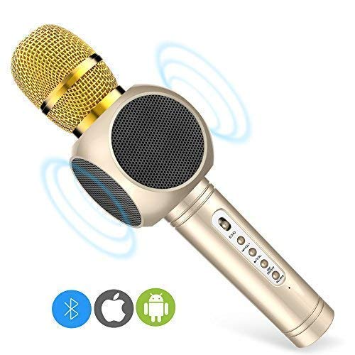 Microfono Karaoke Bluetooth3.0, 2 Altavoces Incorporados, Batería de 2600mAh,  3.5mm AUX, Compatible con PC/ iPad/ iPhone/ Smartphone, Color Dorado