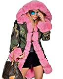 Search : Roiii Rose Pink Quilted Padded Faux Fur Hooded Warm Thick Womens Camouflage Jacket Parka Overcoat