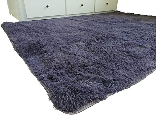 Amazinggirl Shaggy Zimmerteppich Rund 160x230 cm waschbar modern Designe Teppich für Kinderzimmer, Schlafzimmer, Wohnzimmer Farben zum Wahl (violett, 160 x 230 cm)