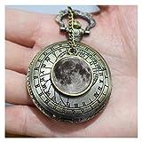 Luna Llena Collar de reloj de bolsillo, largo de bronce antiguo collar de reloj
