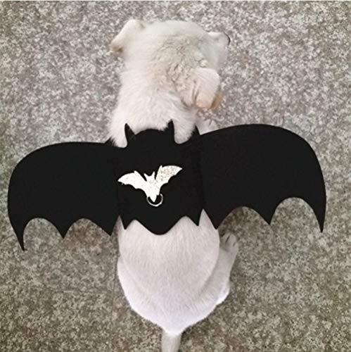 JLFDHR 2019 Neue Halloween-Haustierhundekostüme Fledermausflügel Vampir Schwarz Süßes Kostüm Halloween-Haustierhundekatze Kostüm Größe (Süße Vampir Kostüm)