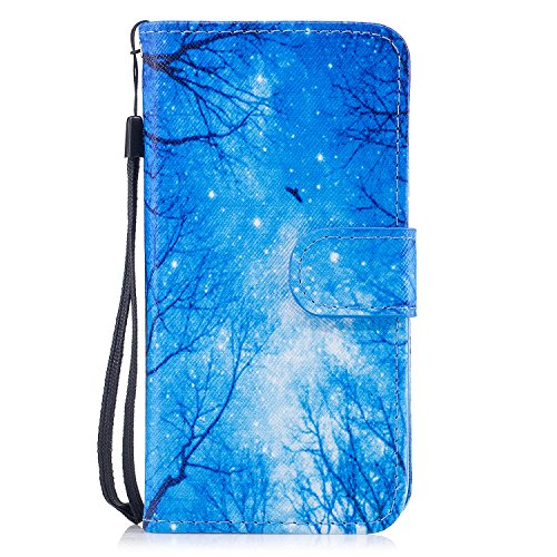 Custodia iphone X Cover ,COZY HUT Flip Caso in Pelle Premium Portafoglio Custodia per iphone X, Retro Animali di cartone animato Modello Design Con Cinturino da Polso Magnetico Snap-on Book style Inte Cielo blu