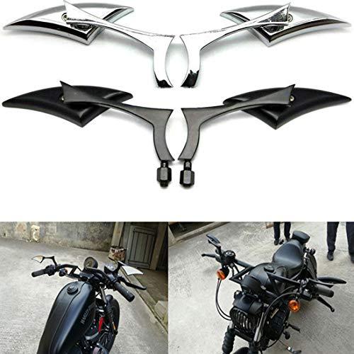CJYShop Espejos retrovisores universales de aluminio para motocicleta, espejos retrovisores Silverado, retrovisores para Harley Cruiser Bobber Chopper