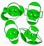 3DREAMS 4er Set Keksausstecher Halloween Ausstecher Fledermaus Ausstechform Geist Frankenstein Monster Skelett inkl. 2 Rezepte Bio-Kunststoff Made in Germany