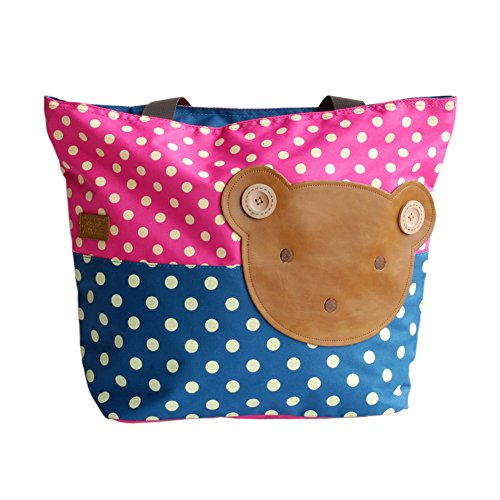 [Bear-rosered] Blancho Applique enfants Tissu Art Sac à main/Shopper Bag-big Taille (16,5 * 5.5 * 12.6)