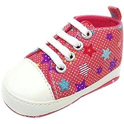 Babyschuhe Jungen, FNKDOR Schuhe weiche Sohle Kleinkind Krabbelschuhe Lauflernschuhe 0-18 Monate (06-12 Monate, Rot)