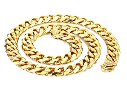 Jungen 15mm schwere abgeschrägte Panzerkette Cuban Link Kette Gold Ton 316L Edelstahl Halskette, 59,9cm ()