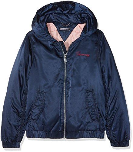 Tommy Hilfiger Mädchen Jacke Essential Hooded Bomber Jacket, Blau (Black Iris 002), 128 (Herstellergröße: 8)