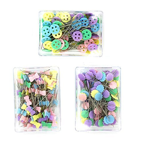 Kelier Multi Color Plum flower Head Pin Button Head Pin Tie Head Pin Straight Pins Set of 3 , A total of 300-Count by