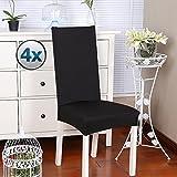 Fundas para sillas pack de 4 fundas sillas comedor fundas elásticas, cubiertas para sillas,bielástico Extraíble funda, muy fácil de limpiar, duradera (Paquete de 4, Negro)