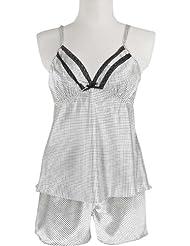 adonia mode Satin Shorty Pyjama Dessous Schwarz Weiss , Gr 44/46