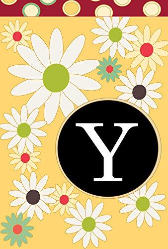 Toland Home Garden 119920Monogramm Garten Flagge mit Initiale Y, Textil, Gelb/Rot / Schwarz, Größe S