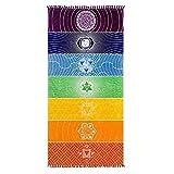 Dracarys Serviettes de Yoga Simples - Tassels Rainbow Chakra Tapestry Stripes Tapis de Yoga pour Pilates, Fitness - Serviette de Plage colorée